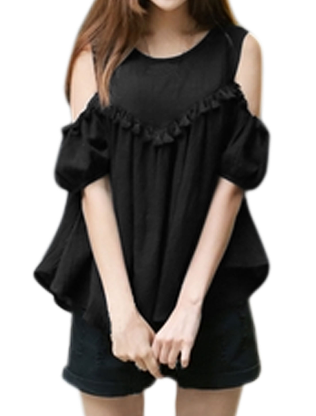 Women Cut Out Shoulder Tassels Loose Top Black XS