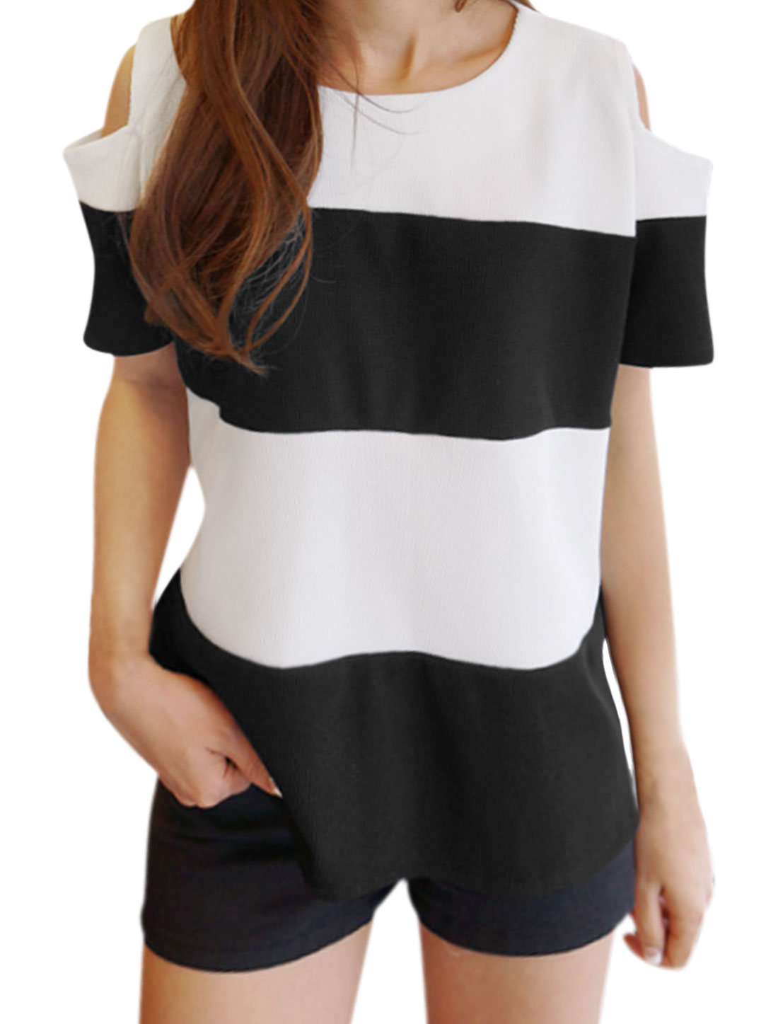Women Cut Out Shoulder Stripes Hi-Lo Top Black White XS