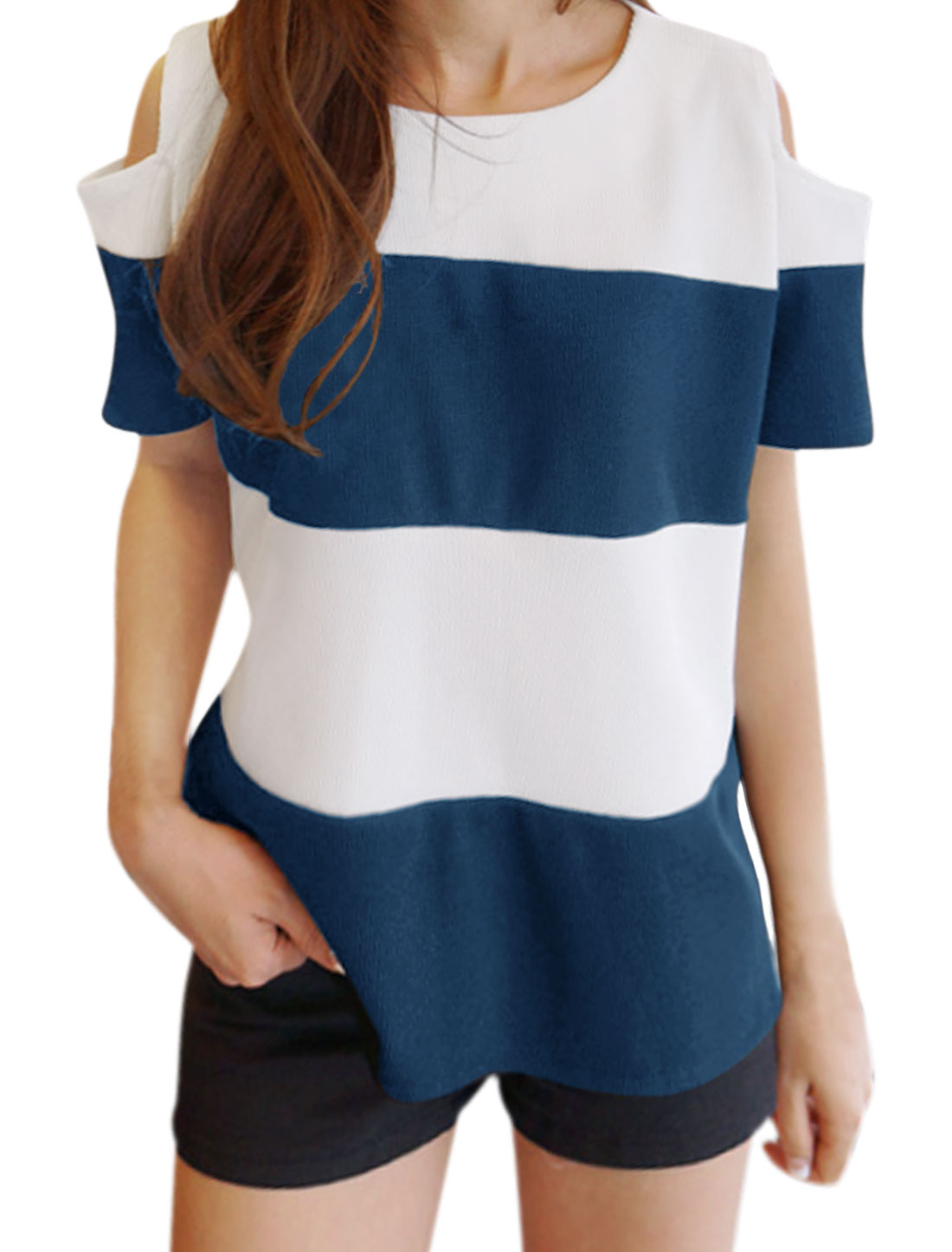 Women Cut Out Shoulder Stripes Hi-Lo Top Blue White XS