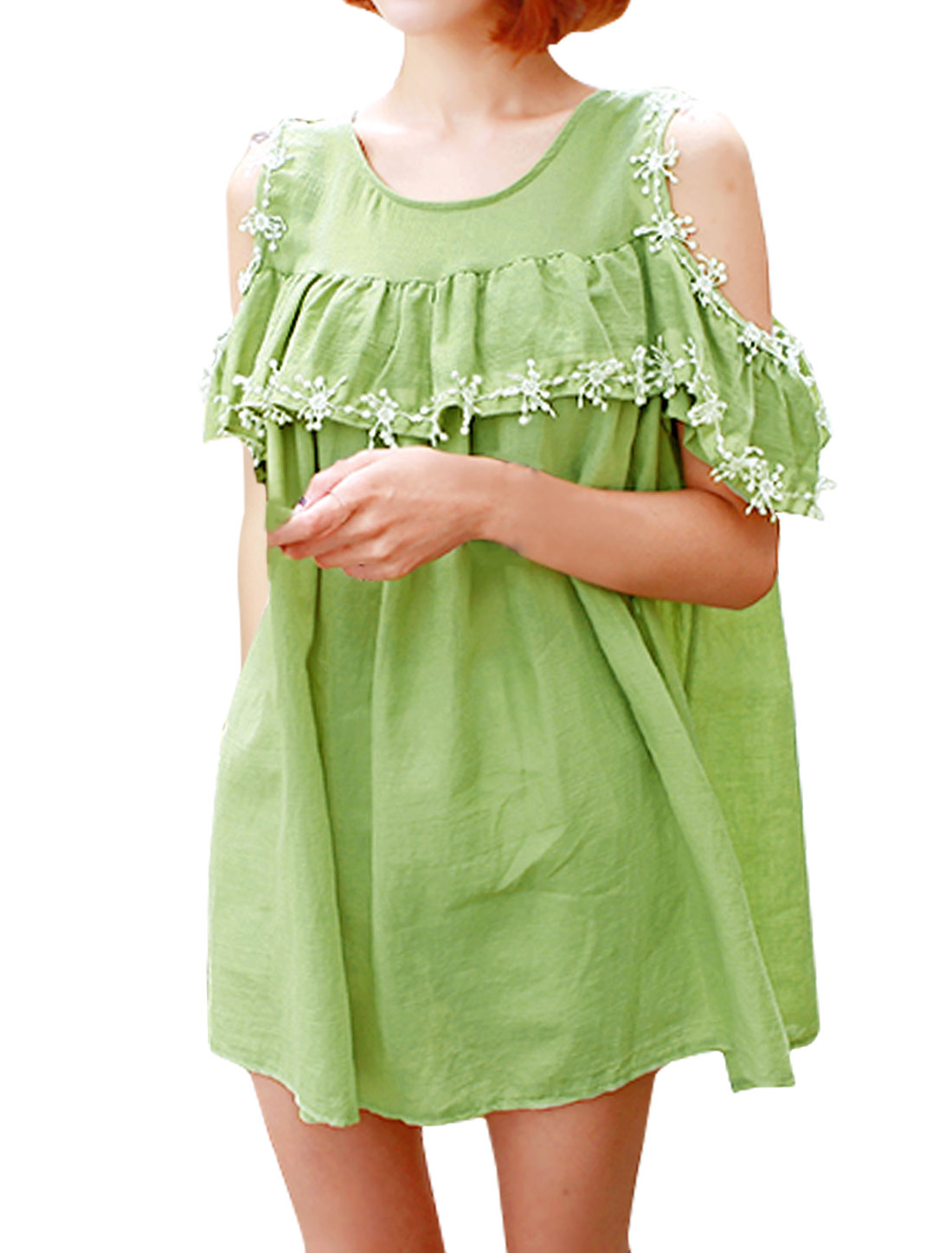 Woman Cut Out Shoulder Flouncing Upper Crochet Tunic Top Green XS