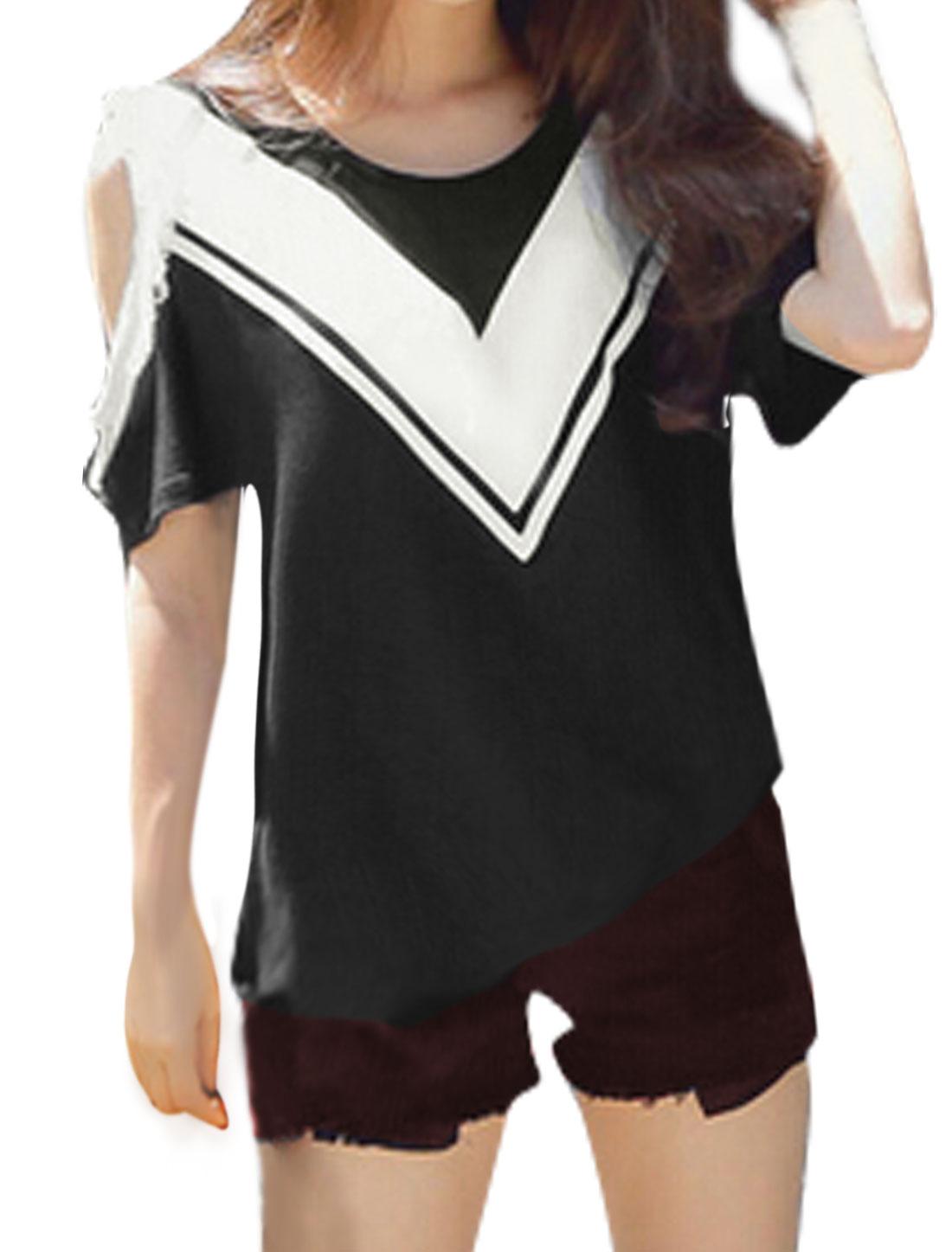 Woman Cut Out Shoulder Contrast Color Tassels T-Shirt Black XS