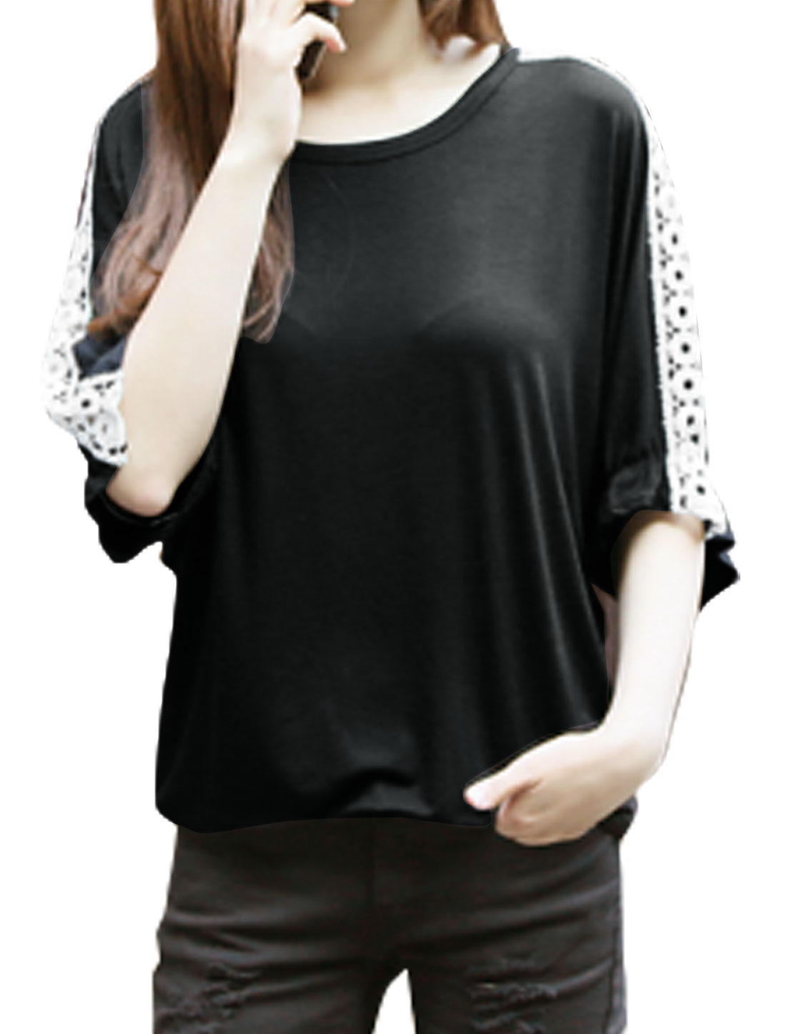Woman Round Neck Hollow Out Design Loose Batwing T-Shirt Black XS