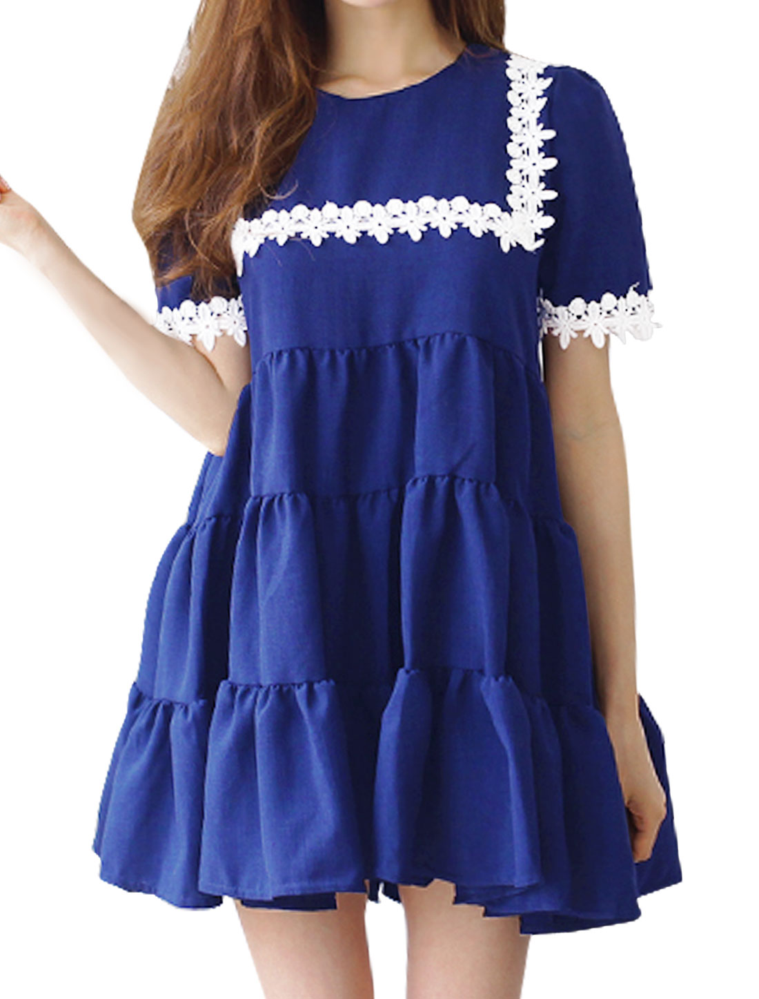 Woman Short Sleeves Crochet Design Tiered Tunic Dress Blue XS