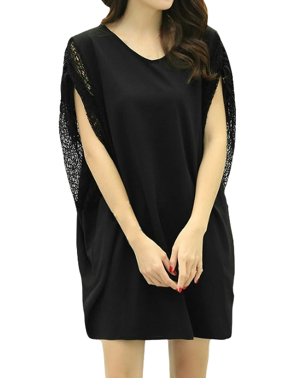 Woman Batwing Self Tie Design Mesh Loose Tunic Top Black XS