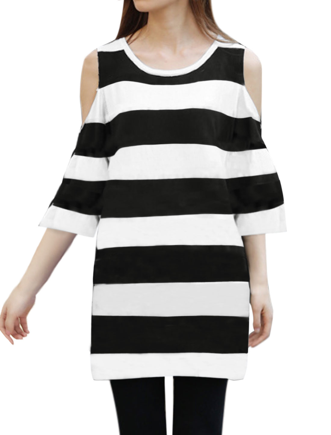 Ladies Cut Out Shoulder Bold Striped Tunic Dress Black White XS