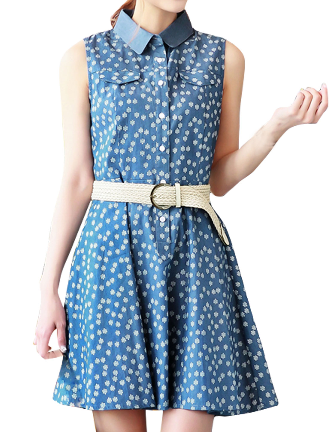 Woman Collared Sleeveless Snowflake Jean Dress w Belt Blue S
