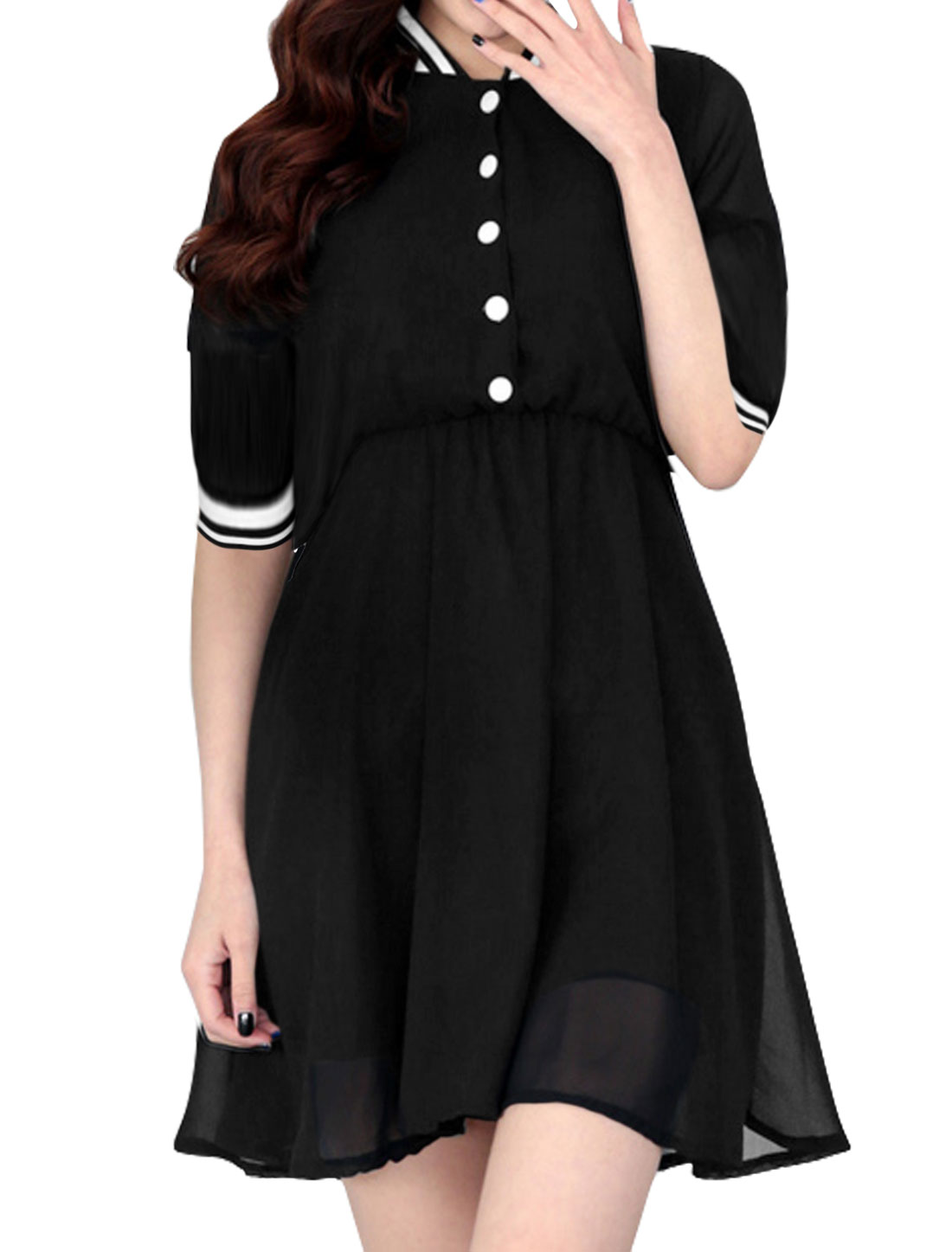 Woman Collared 3/4 Sleeves Elastic Waist Chiffon Dress Black XS