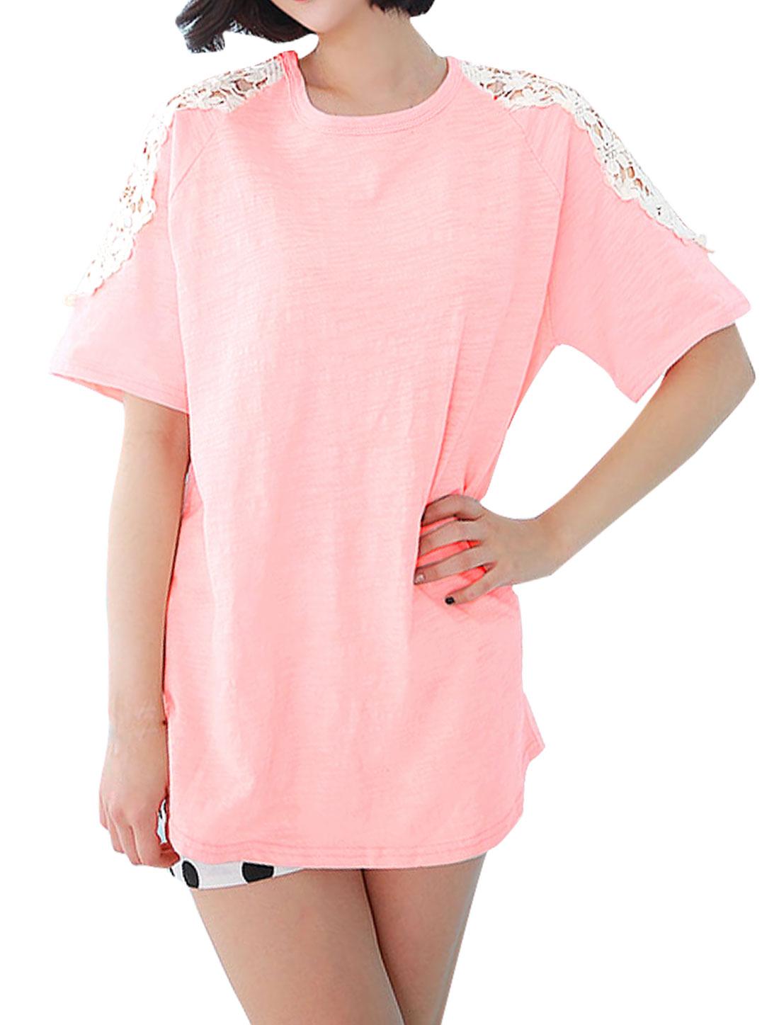 Woman Raglan Crochet Hollow Out Design Tunic T-Shirt Pink XS