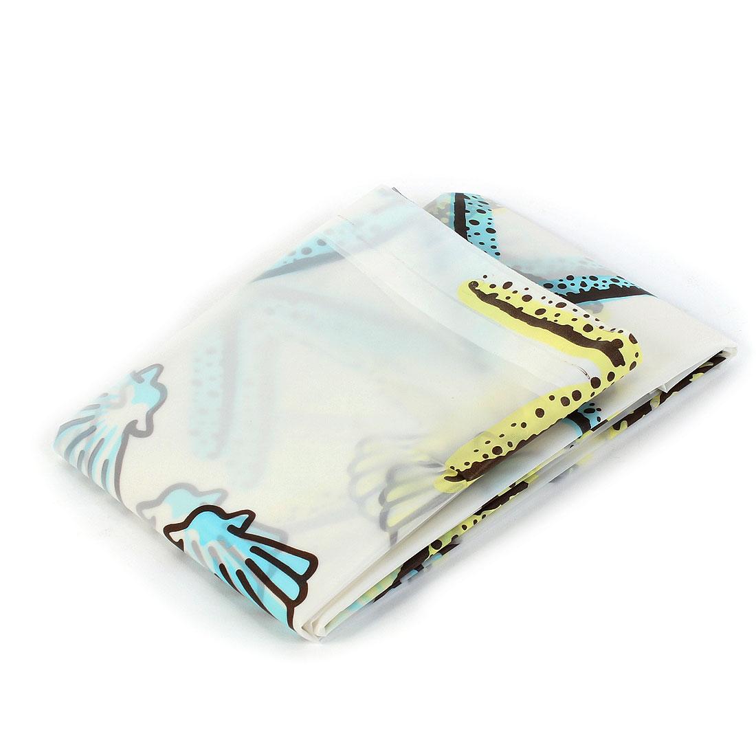 Bathroom Sea Shells Pattern Waterproof Shower Curtain 180 x 180cm w Hooks