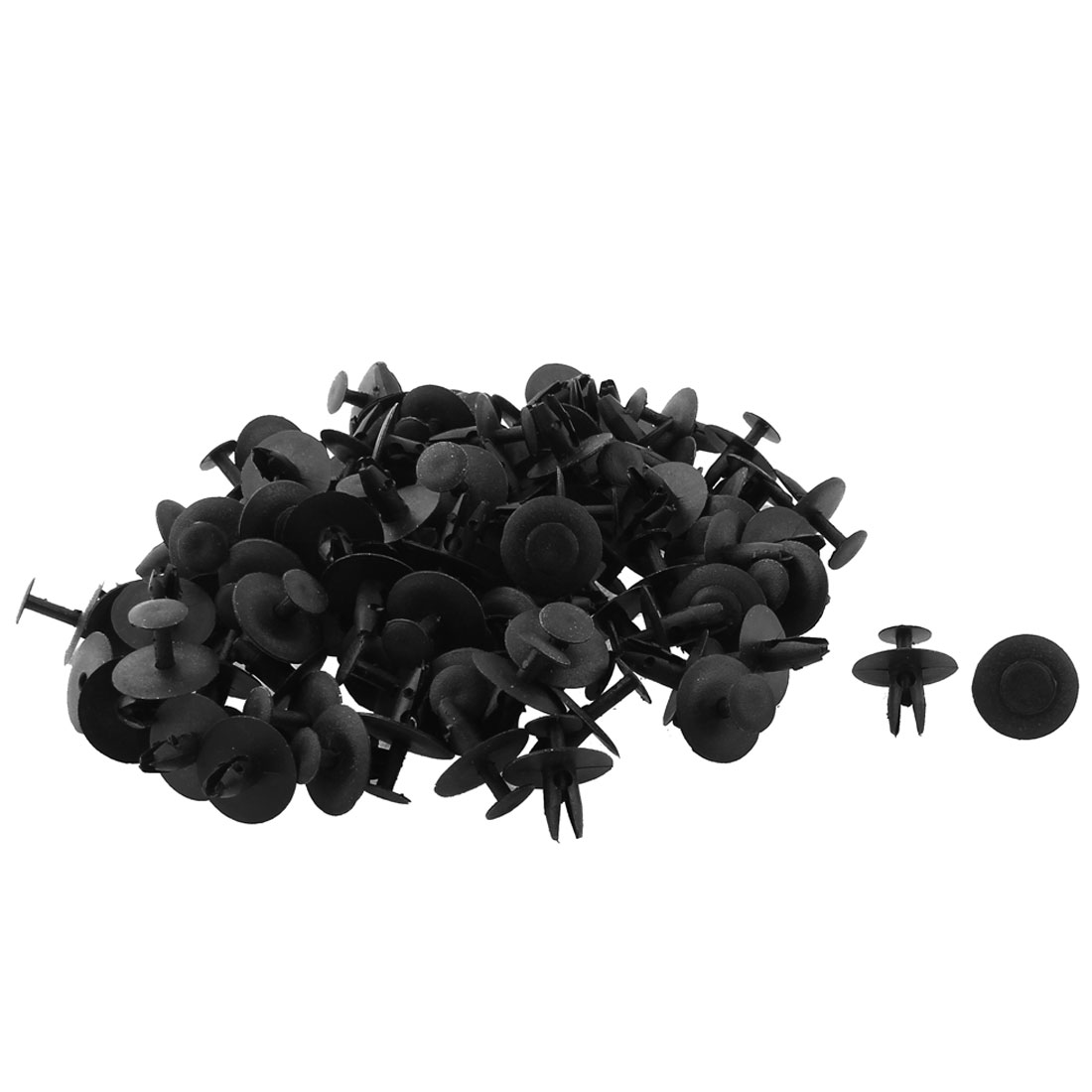 100pcs 7mm Dia Hole 21mm Head Black Plastic Rivets Fastener Fender Car Bumper Push Clips
