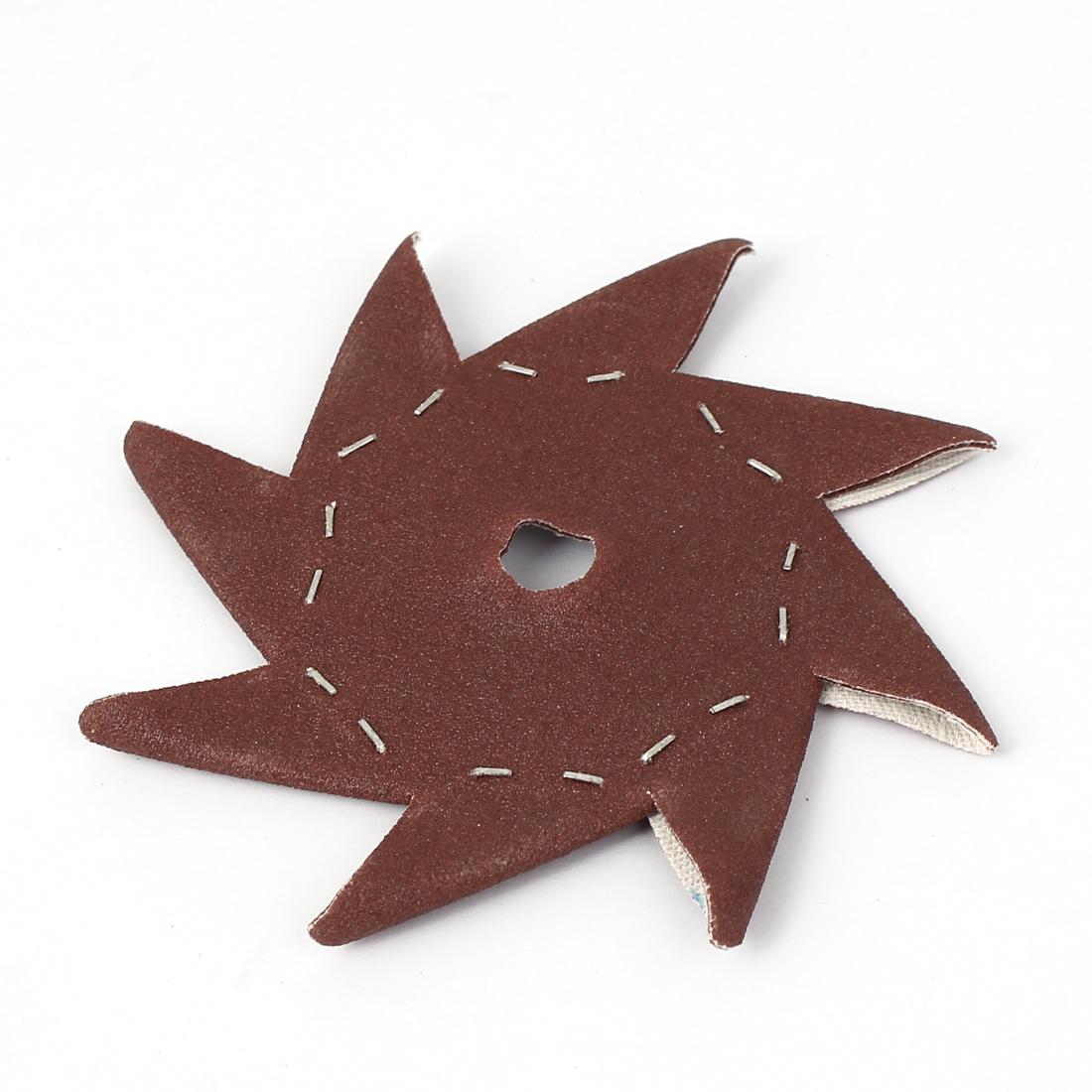 """4"""" Pinwheel Shaped 400 Grit Abrasive Sandpaper Sheet Dark Brown"""