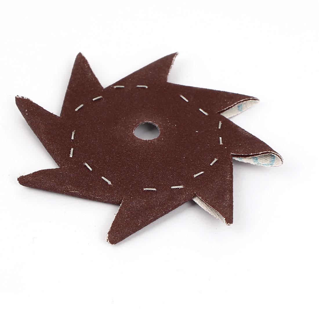 """4"""" Pinwheel Shaped 180 Grit Abrasive Sandpaper Sheet Dark Brown"""