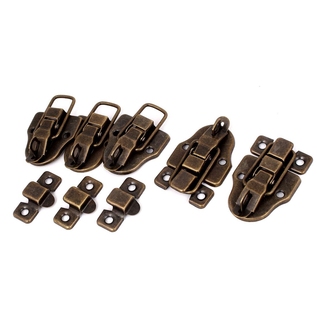Retro Style Metal Wardrobe Box Case Safe Lock Toggle Latch Hasp Bronze Tone 5pcs