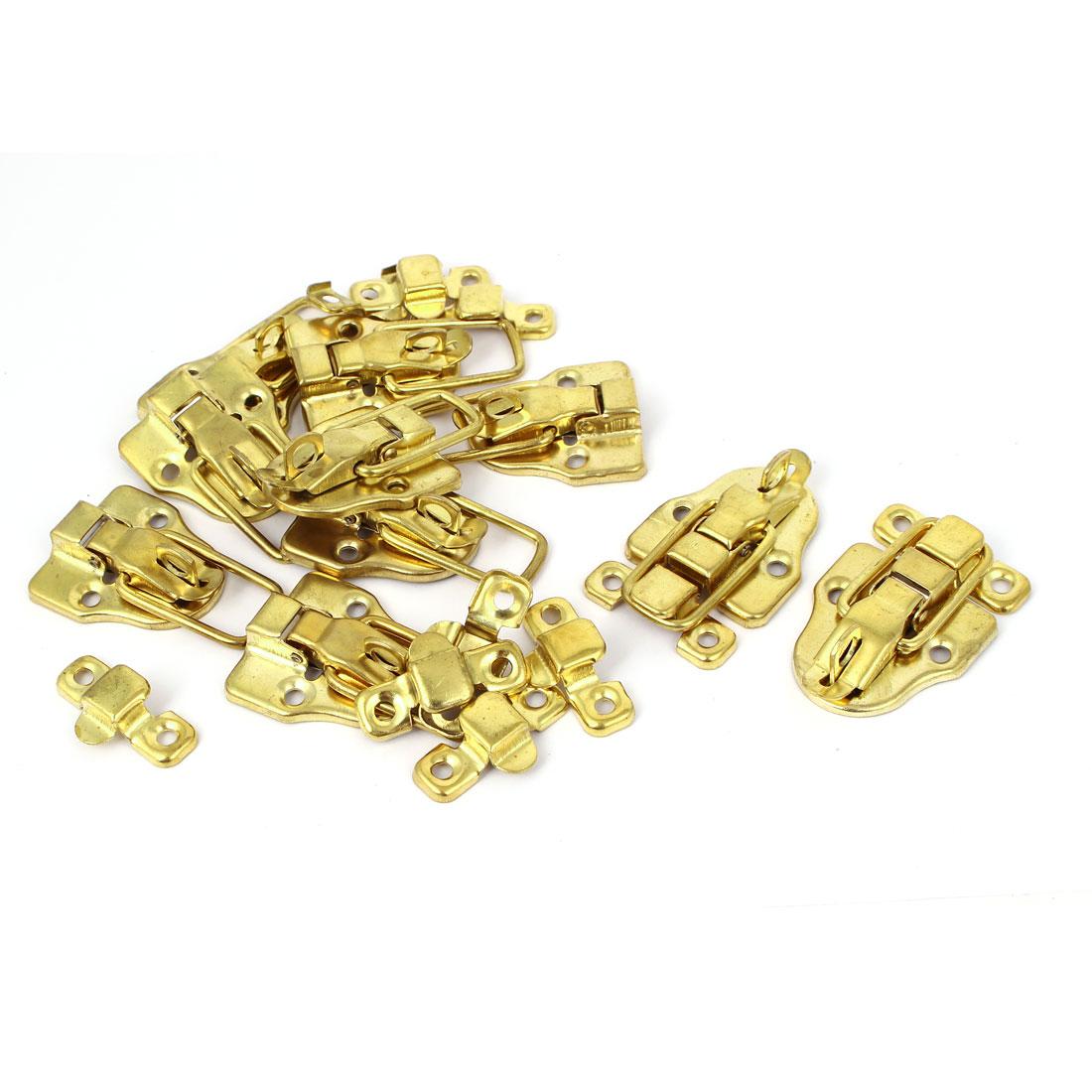 L187E5 Metal Wardrobe Box Case Safe Lock Toggle Latch Hasp Gold Tone 10pcs