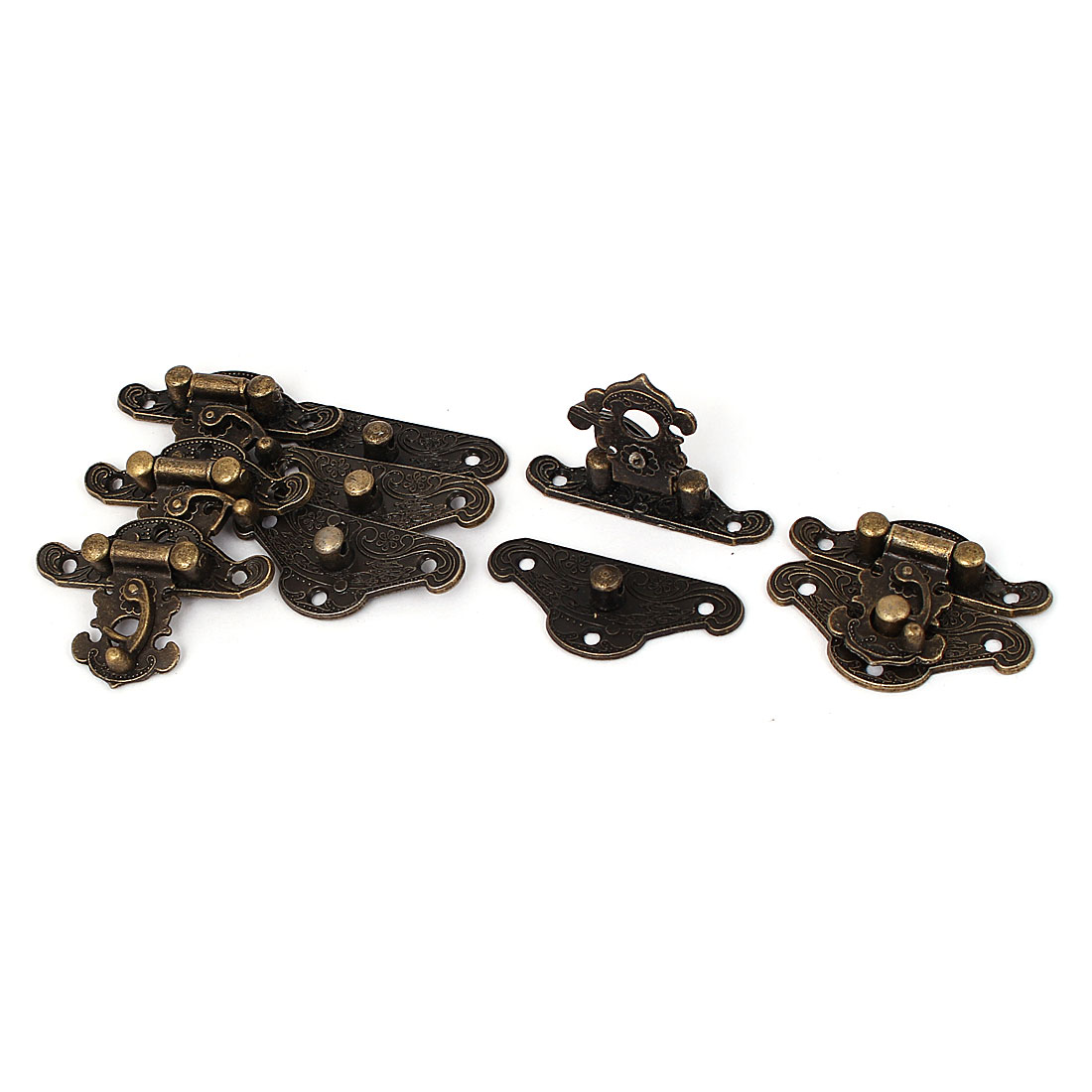 38mm x 29mm Vintage Style Wooden Box Case Hook Lock Lid Latch Bronze Tone 5pcs
