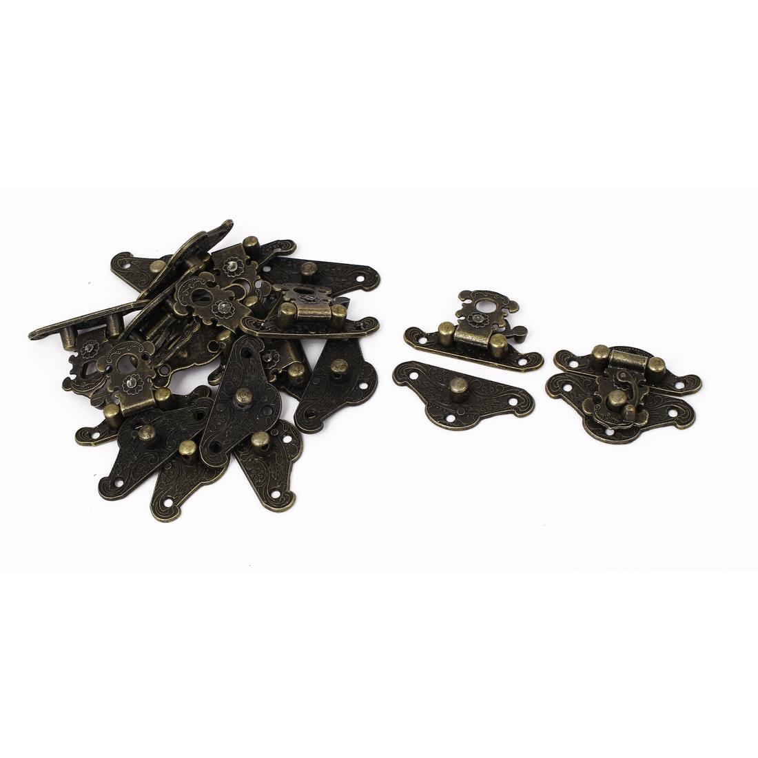 38mm x 29mm Vintage Style Wooden Box Case Hook Lock Lid Latch Bronze Tone 10pcs