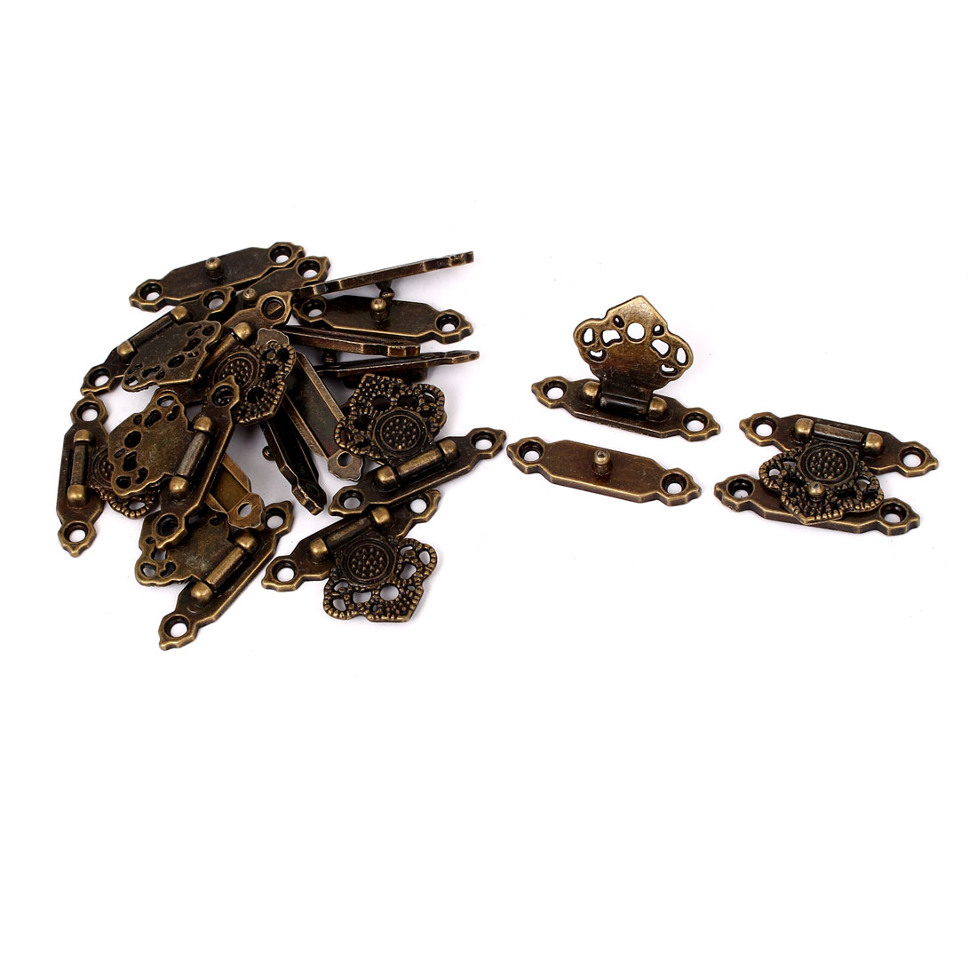 Antique Style Wooden Case Chest Jewelry Box Clasp Hasp Latches Bronze Tone 10pcs
