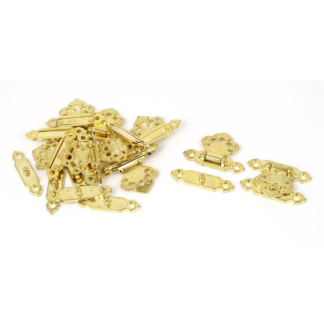 Metal Box Drawer Showcase Hasp Hook Lock Lid Latch Gold Tone 10pcs
