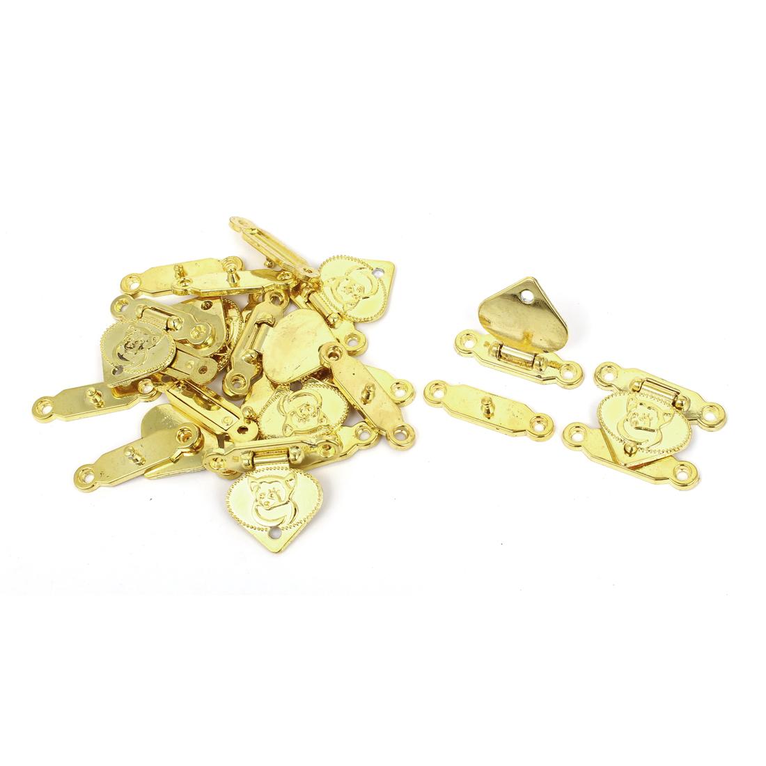 30mm x 38mm Metal Box Drawer Clasp Hasp Hook Lock Lid Latch Gold Tone 10pcs