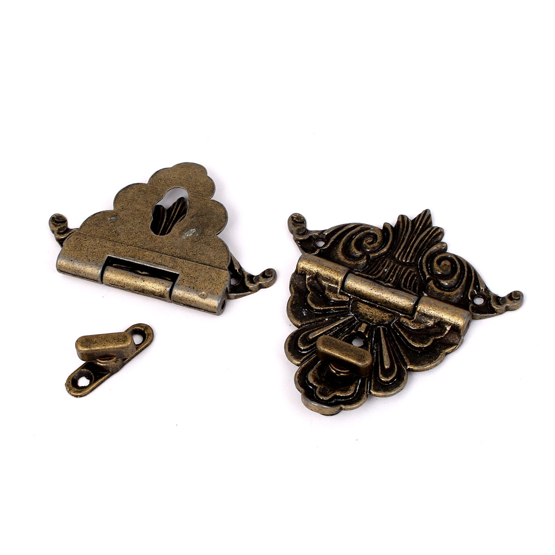 70mmx67mm Vintage Style Wooden Box Case Hook Lock Lid Latch Bronze Tone 2pcs