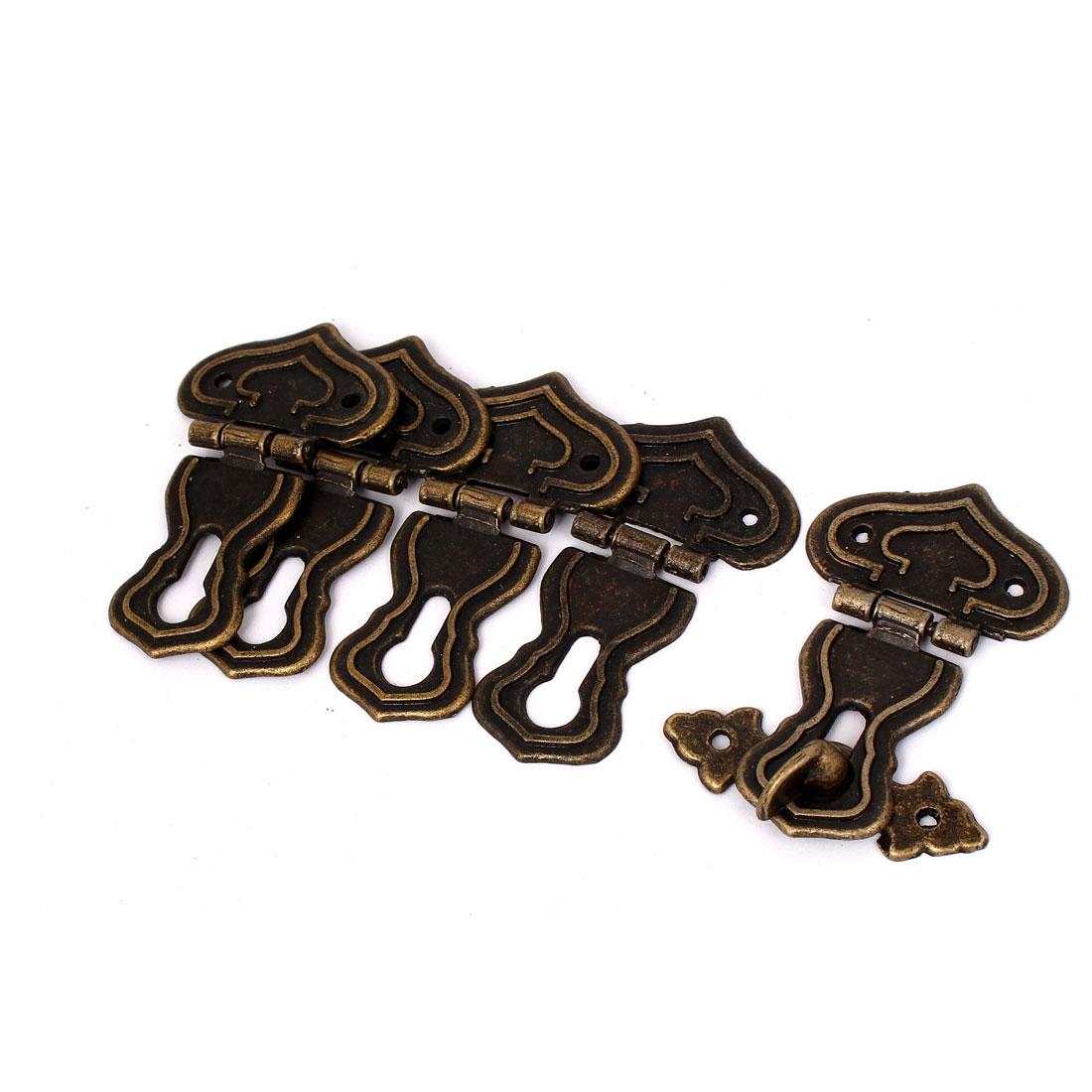 63mmx48mm Vintage Style Wooden Box Case Hook Lock Lid Latch Bronze Tone 5pcs