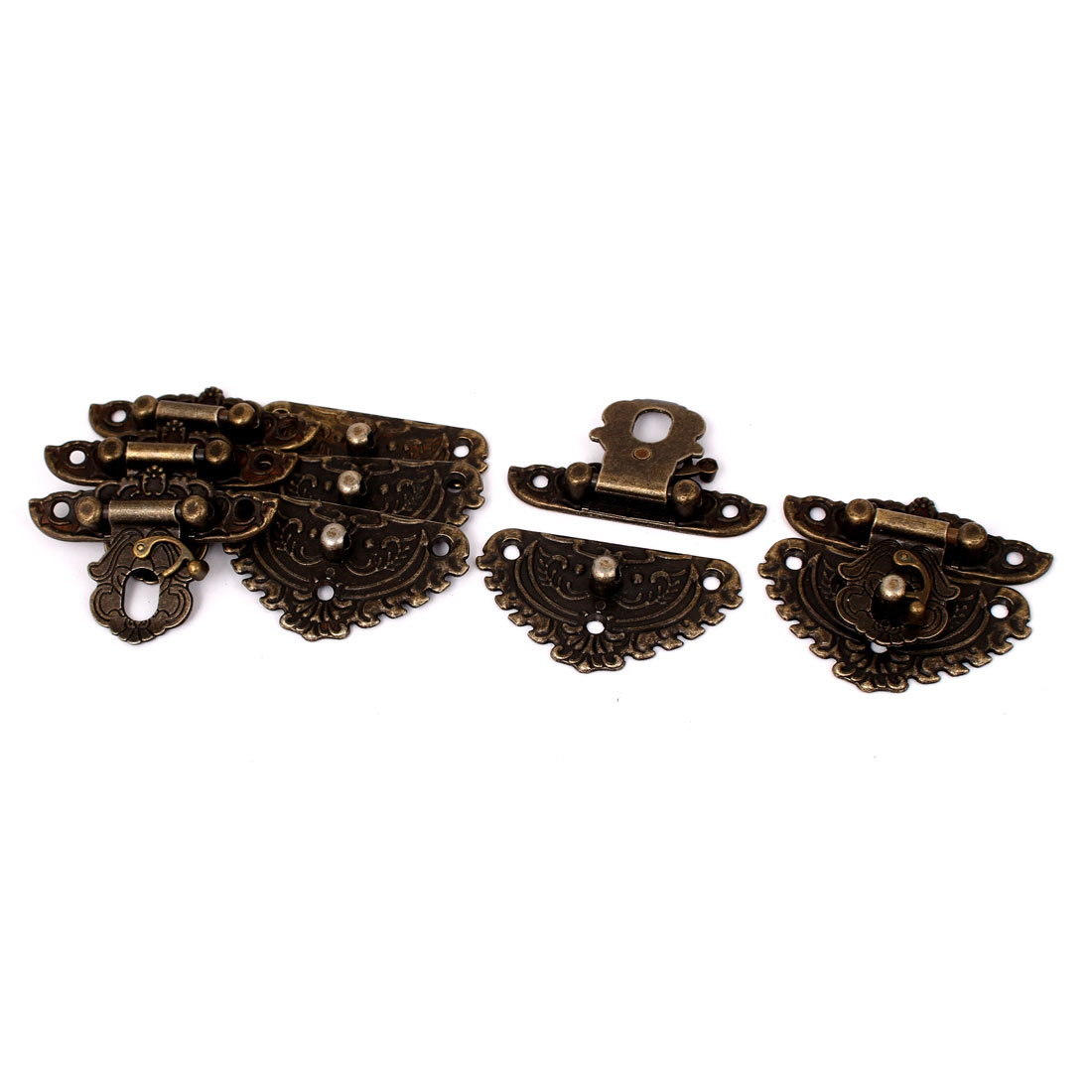 54mmx48mm Vintage Style Wooden Box Case Hook Lock Lid Latch Bronze Tone 5pcs