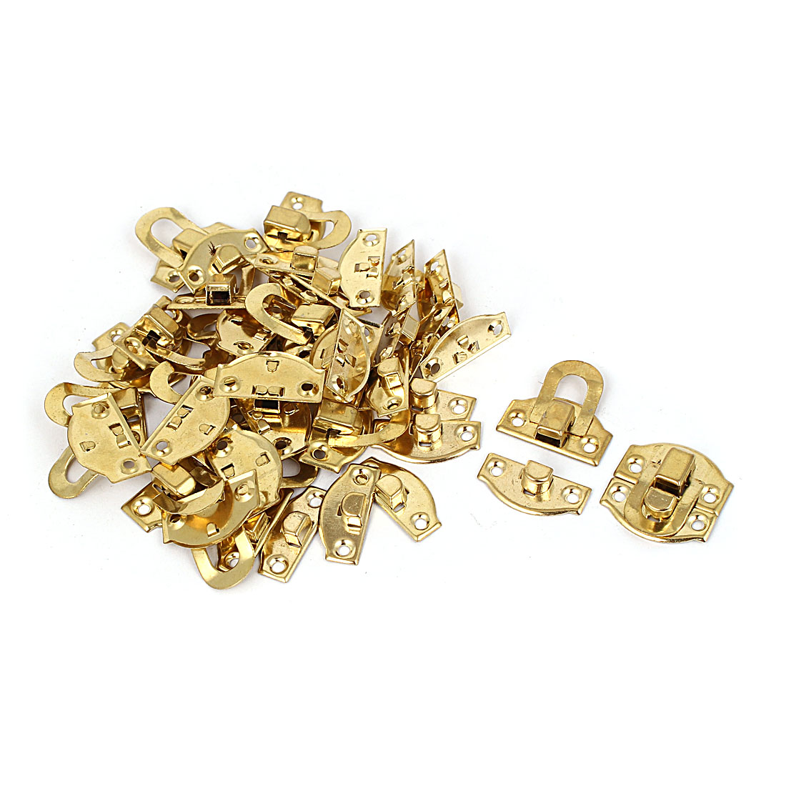 Suitcase Case Chest Box Decorative Lock Hasp Metal Toggle Latch Gold Tone 20pcs