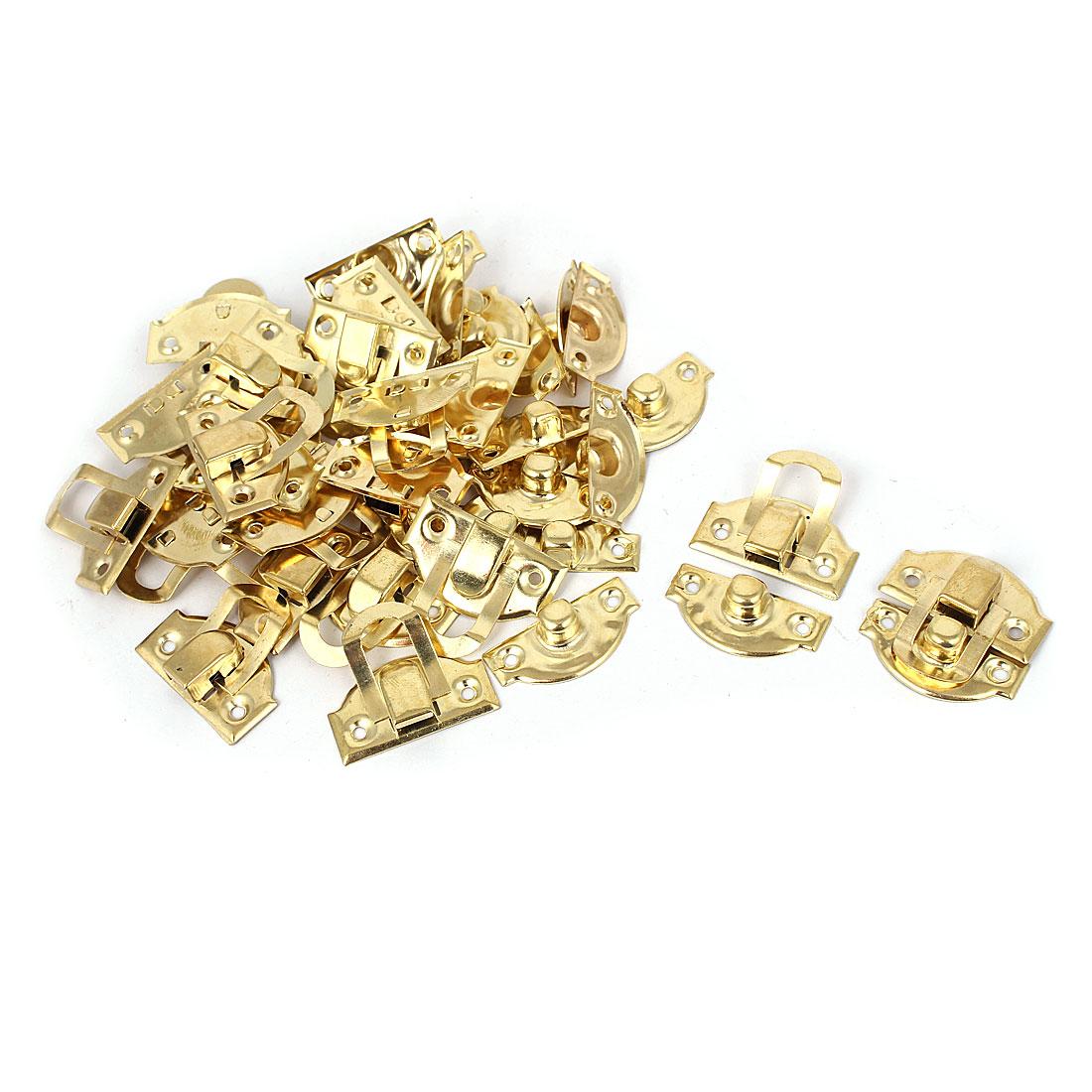 Metal 29mm x 27mm Box Decorative Lock Hasp Toggle Latch Gold Tone 20pcs