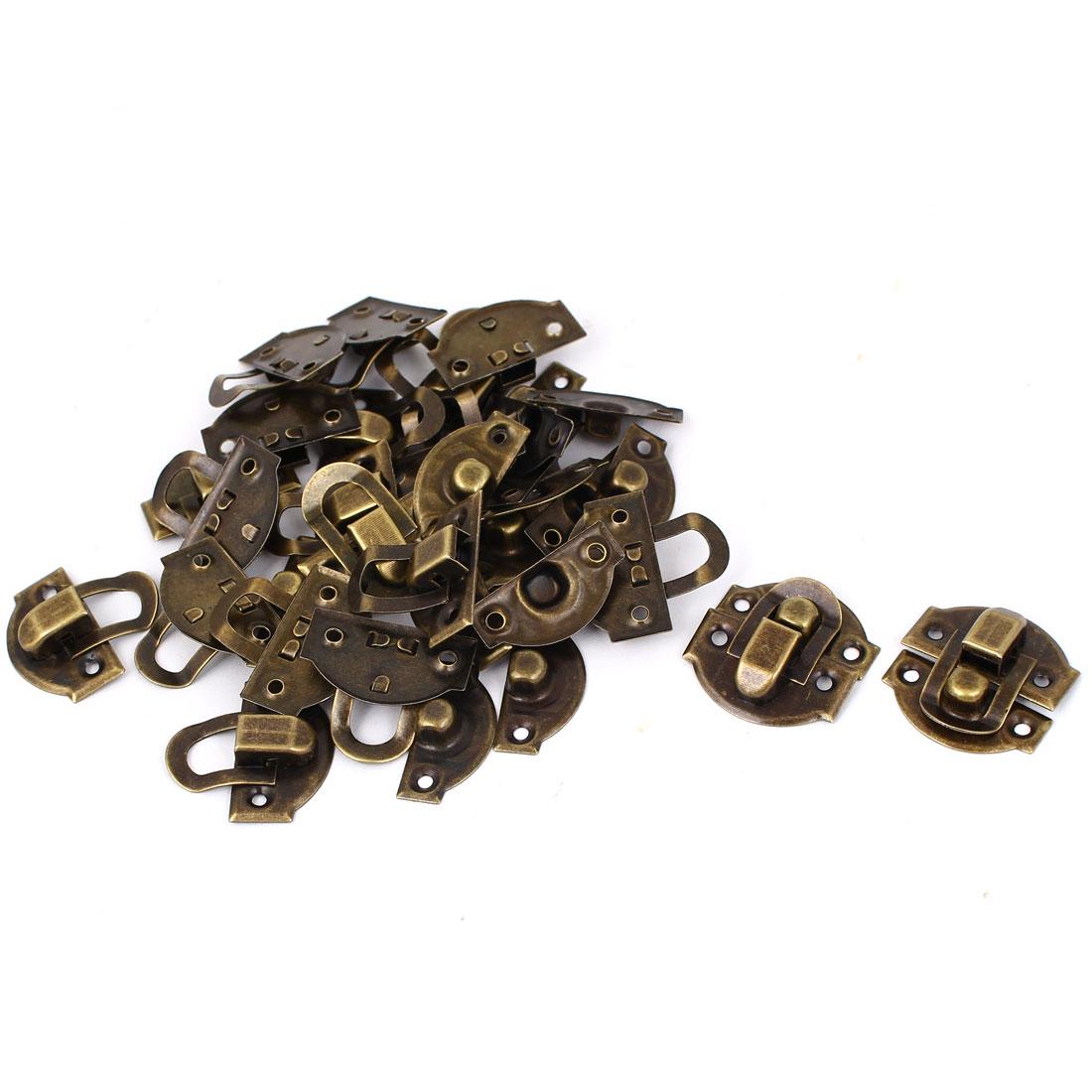 Metal 29mm x 27mm Box Decorative Lock Hasp Toggle Latch Bronze Tone 20pcs