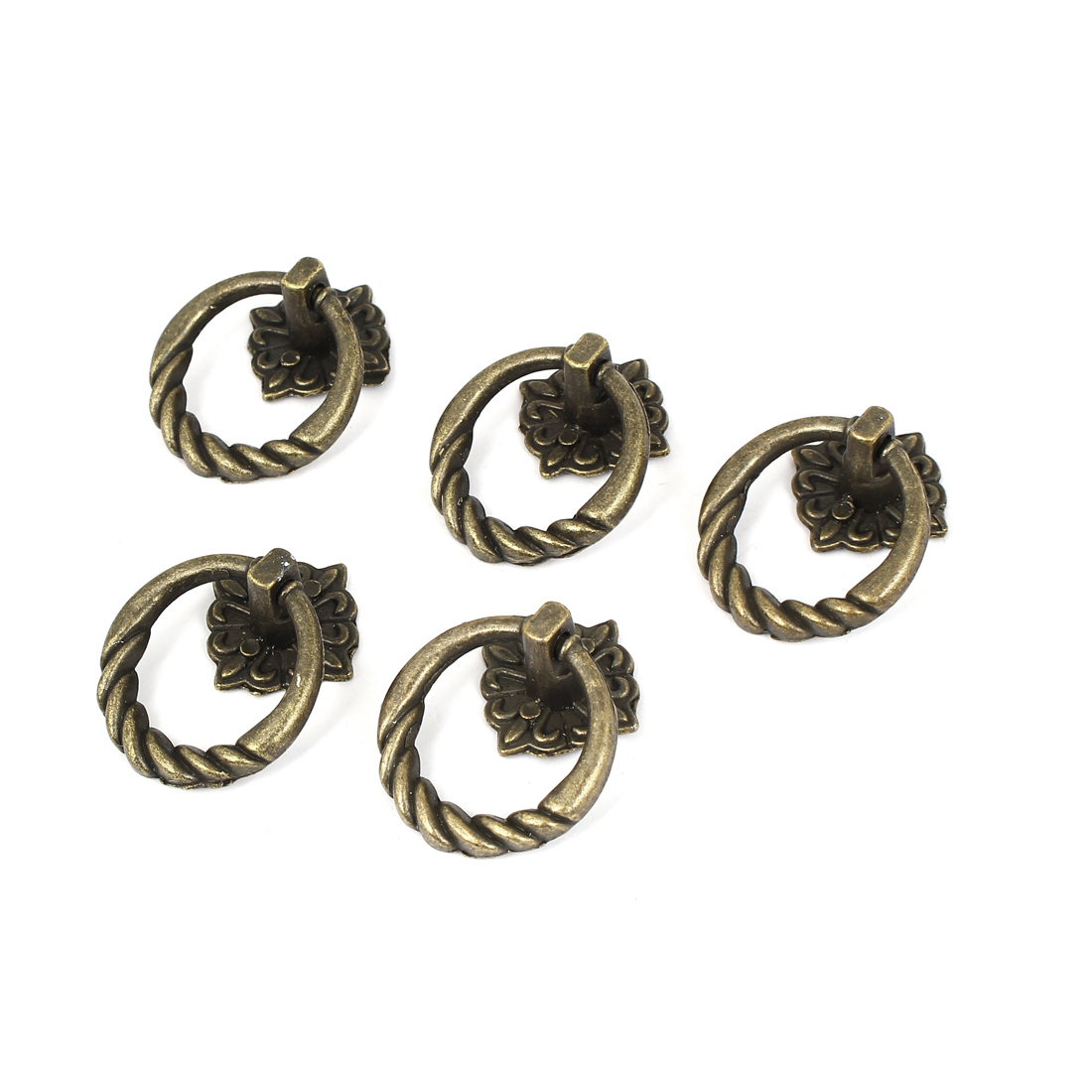 Cabinet Drawer Door Vintage Style Metal Pull Handle Ring Bronze Tone 5pcs