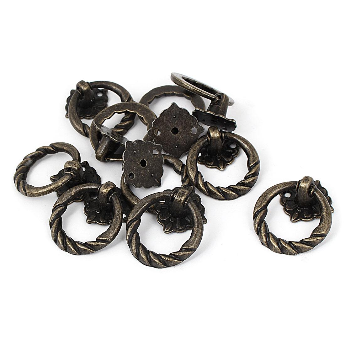 Furniture Showcase Door Box Metal Pendant Pull Handle Ring Knob 37mm Dia 10pcs