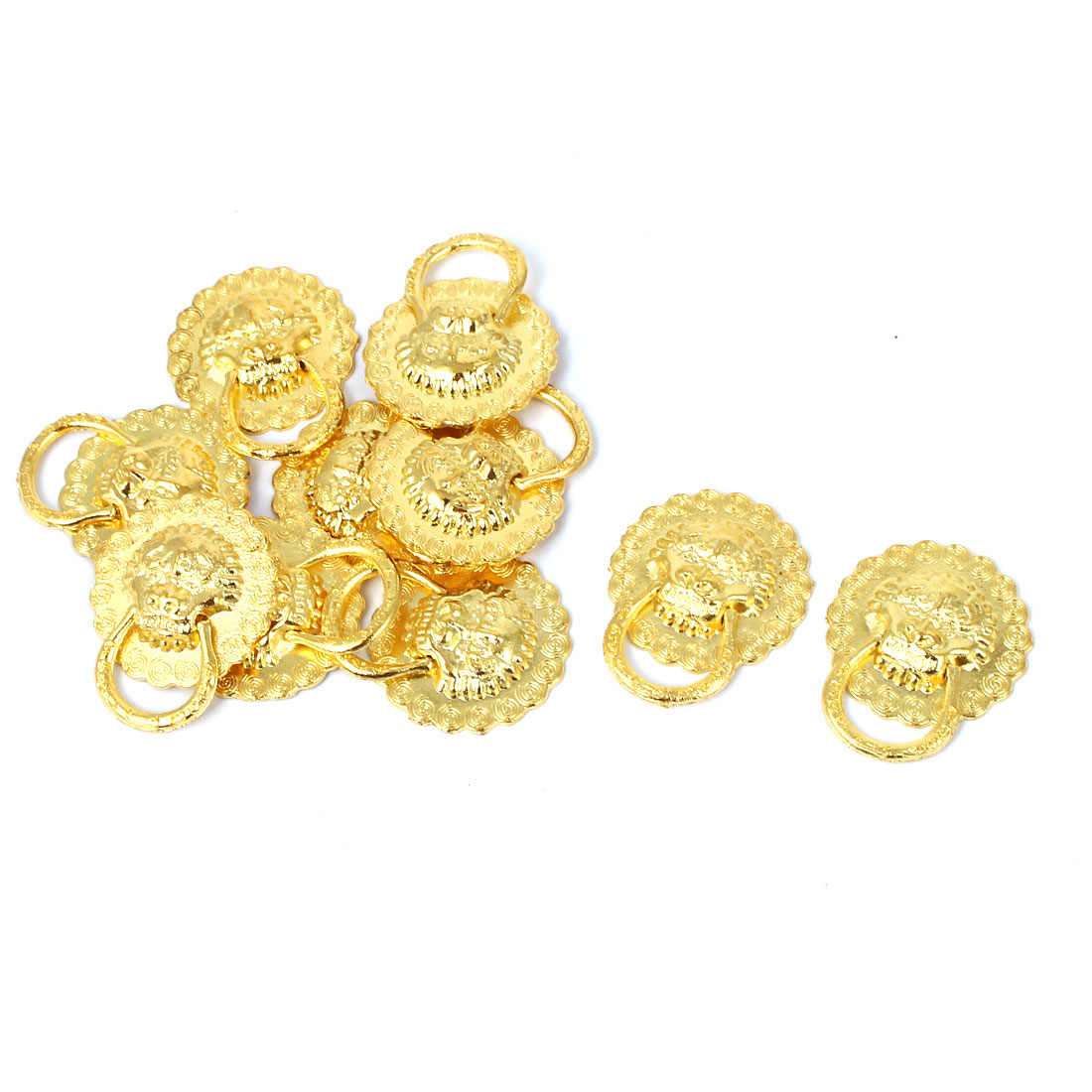 Suitcase Box Wardrobe Drawer Decotaive Lion Head Ring Pull Handle Gold Tone 10pcs