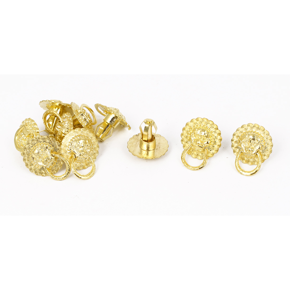 Lion Head Design Drawer Jewelry Box Ring Pull Handle Knob Gold Tone 10pcs