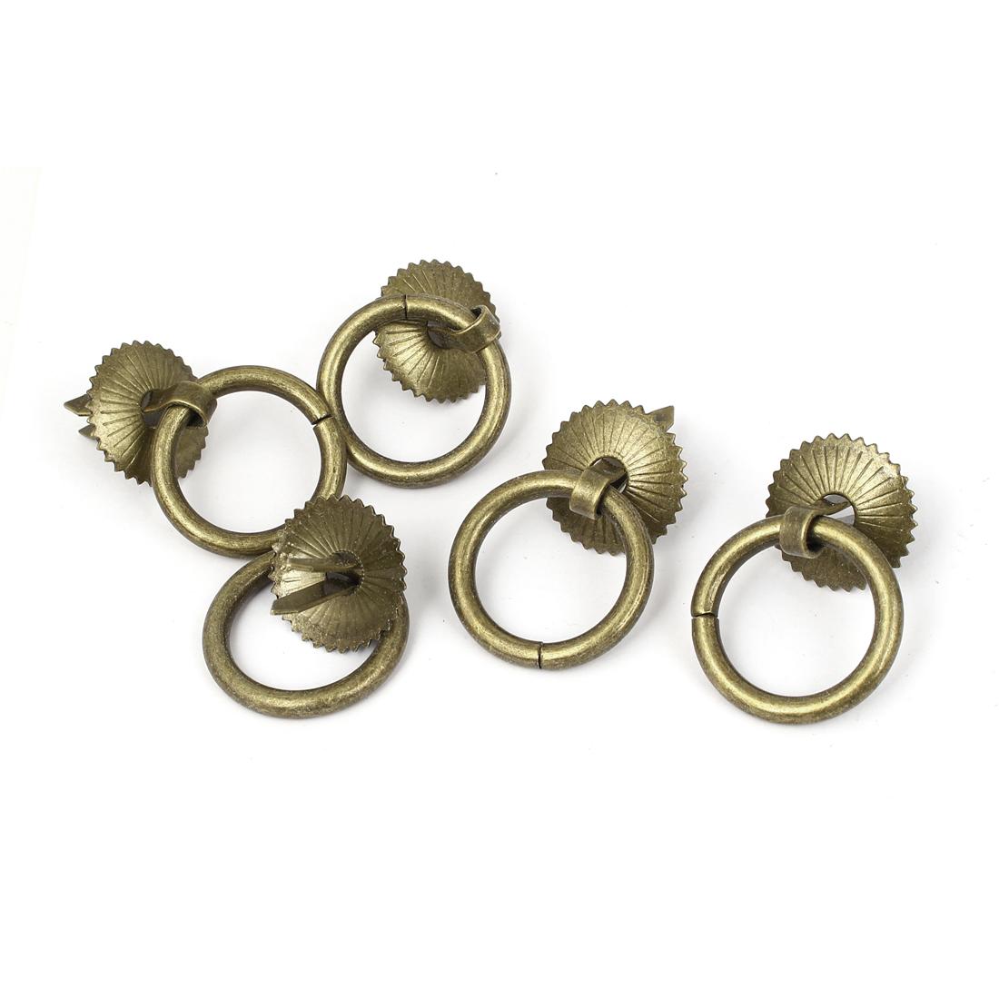 Wooden Case Jewellery Box Retro Style Round Design Pull Handle Ring 30mm Dia 5pcs