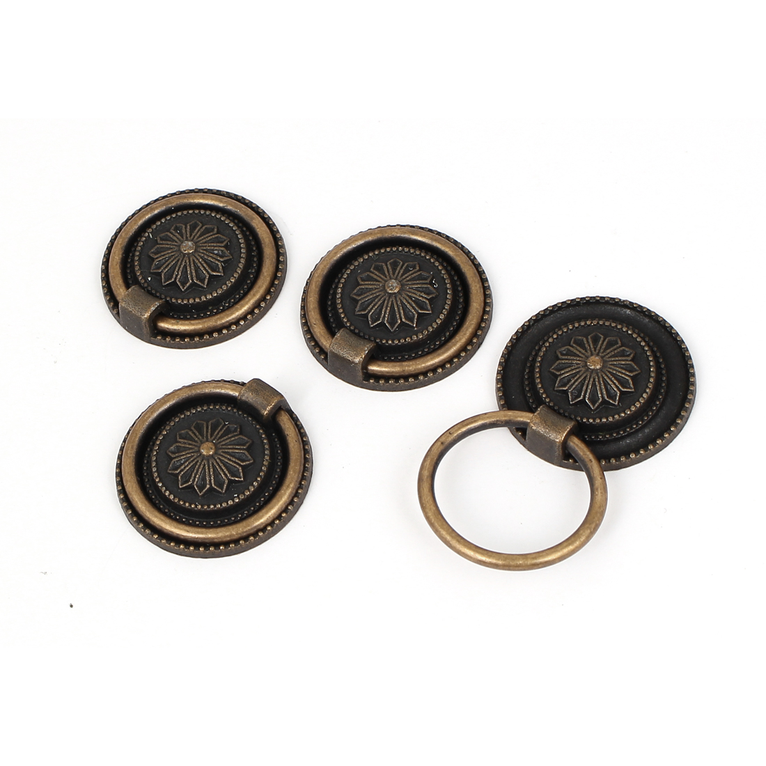 Cabinet Drawer Door Metal 3cm Diameter Round Ring Pull Handles 4pcs
