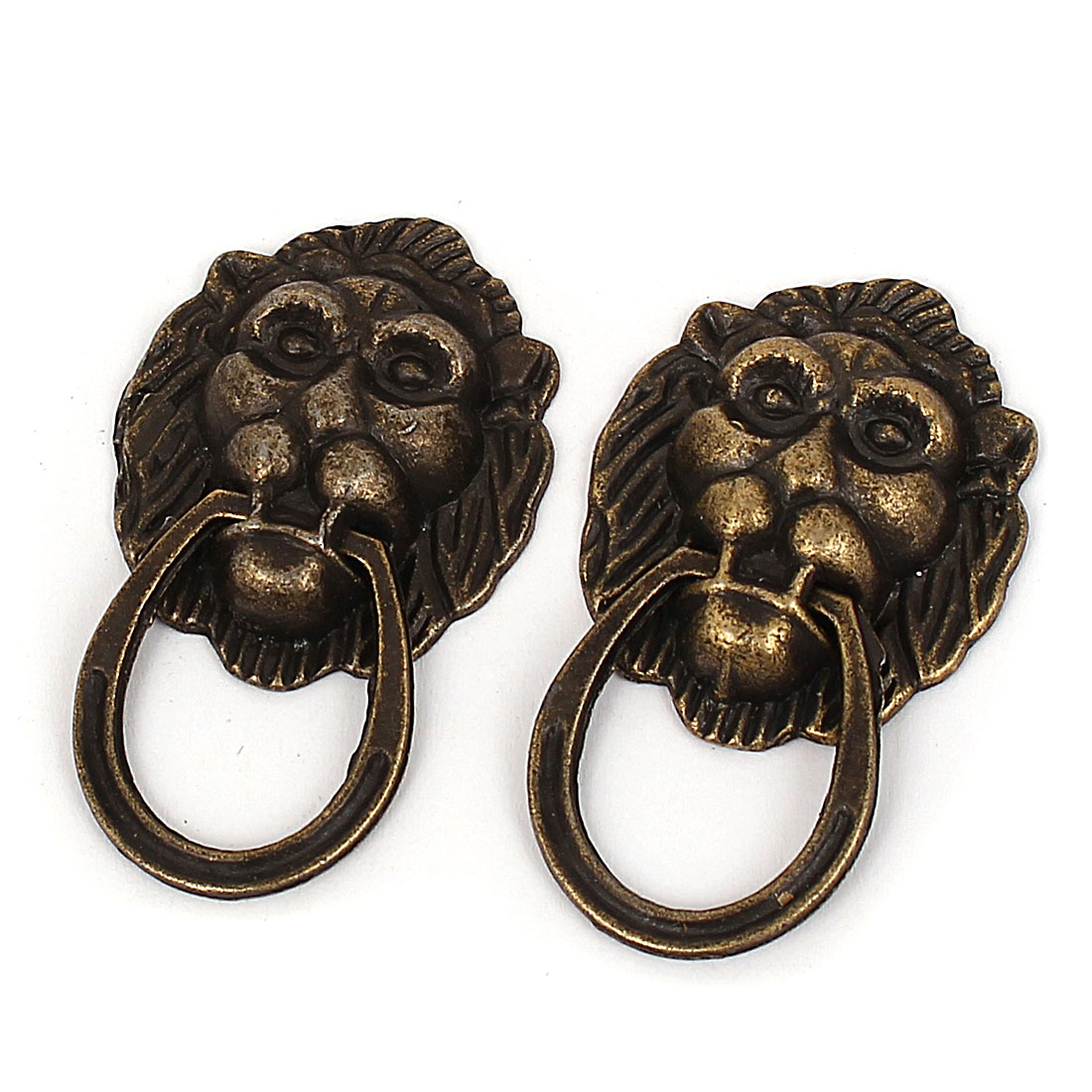Home Door Box Case Lion Head Shape Metal Pull Knobs Handle Bronze Tone 2pcs