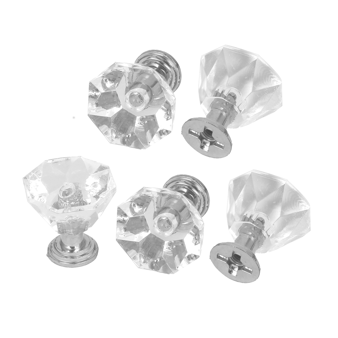 Drawer Cupboard Cabinet Door Crystal Pull Handles Clear 25mm Long 5pcs