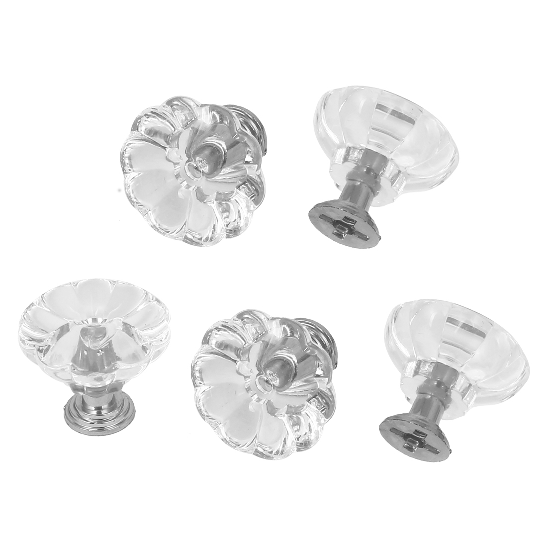 5pcs 30mm Clear Plastic Crystal Cabinet Drawer Door Pulls Knobs Handle