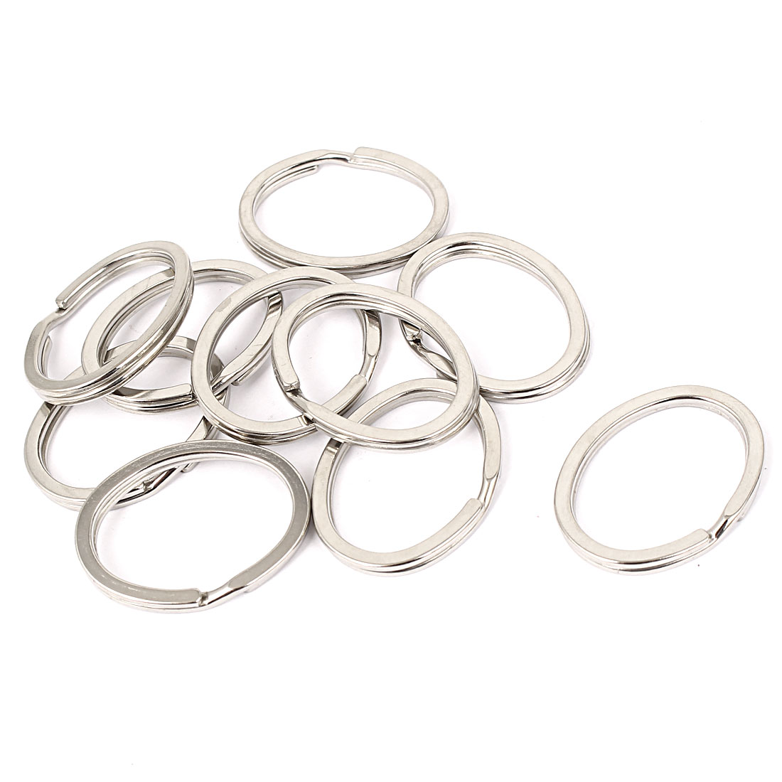 Metal DIY Craft Making Oval Shape Split Ring Key Ring Charms Silver Tone 10pcs