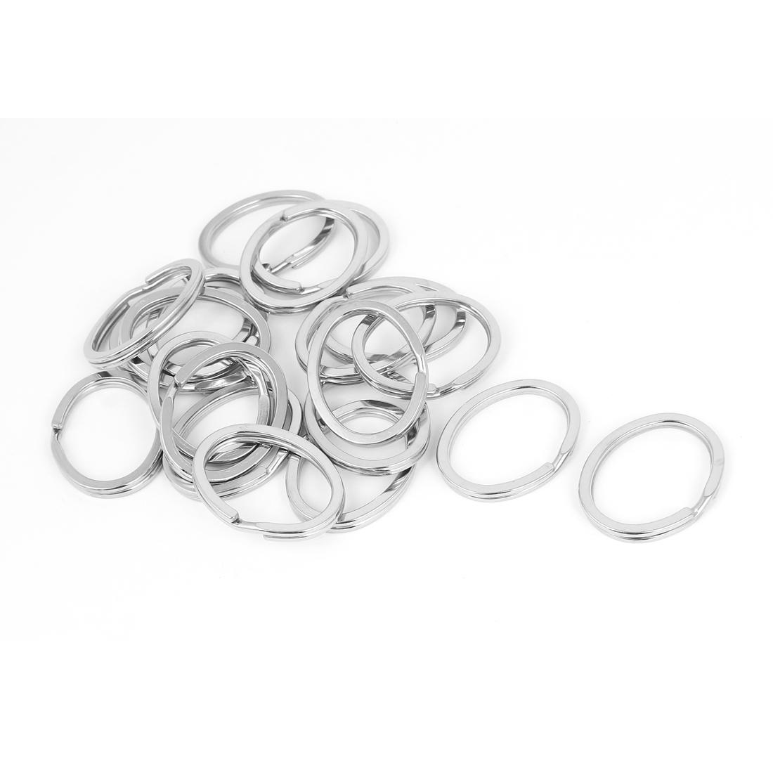 Metal DIY Craft Making Oval Shape Split Ring Keyring Charms Silver Tone 20pcs