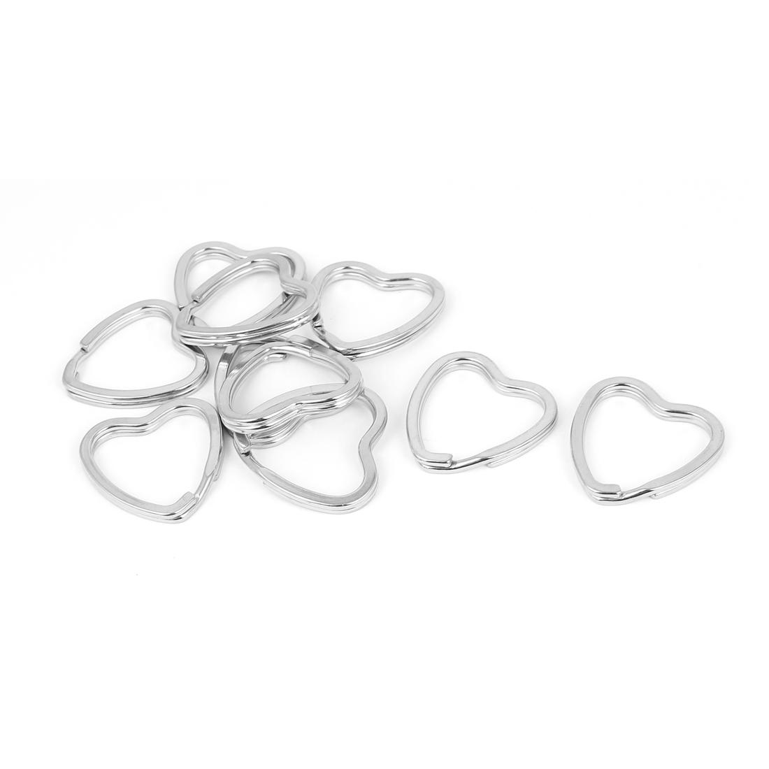 Metal Heart Shape Split Key Ring Jewelry Findings Fit Keyring Silver Tone 10pcs