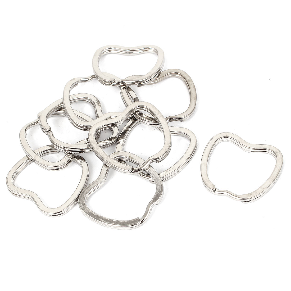 Metal Apple Shape Key Ring Findings Keyring Circles Silver Tone 10pcs