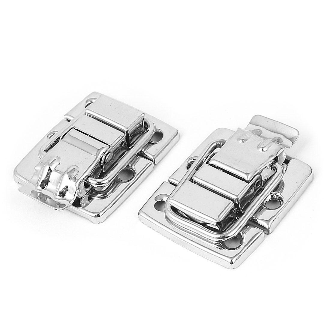 Wardrobe Box Case Metal Toggle Latch Hasp 40 x 30 x 8mm Silver Tone 2pcs
