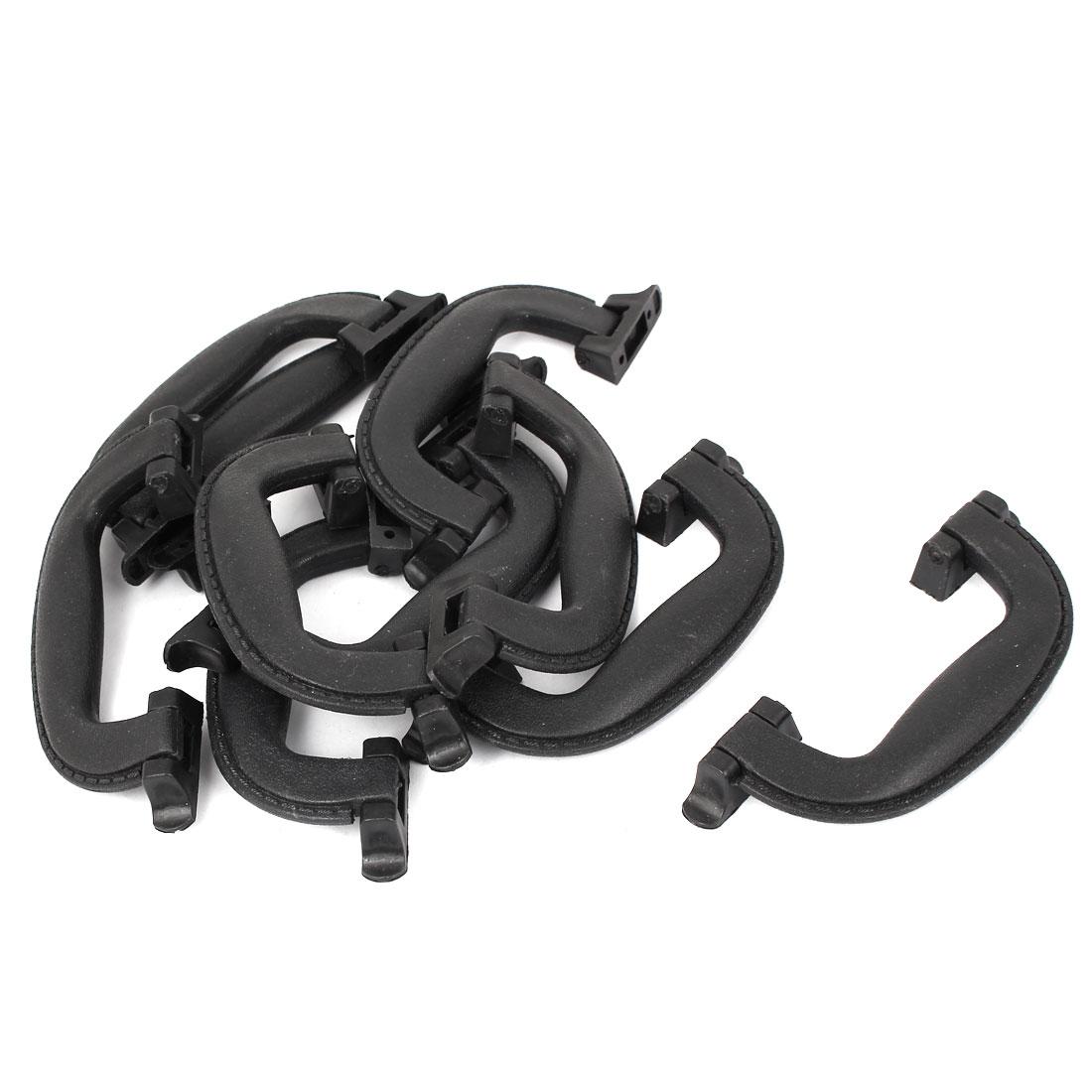 Cabin Drawer Box Plastic Bowing Pull Handle Knob L307E5 Black 10pcs