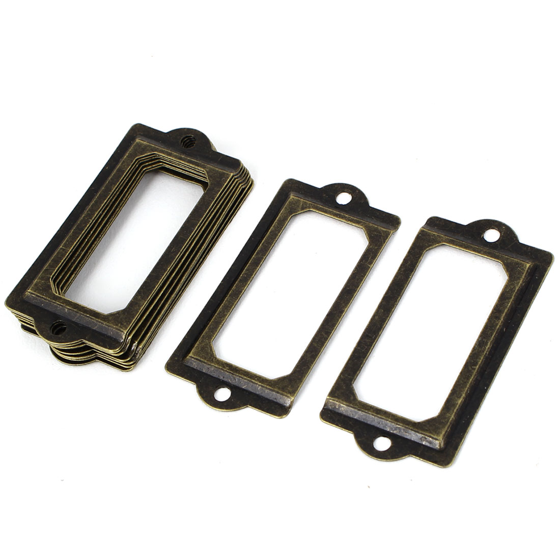 70mmx33mm Vintage Style Metal Tags Frames Drawer Gift Box Tag Card Label Holders 10pcs
