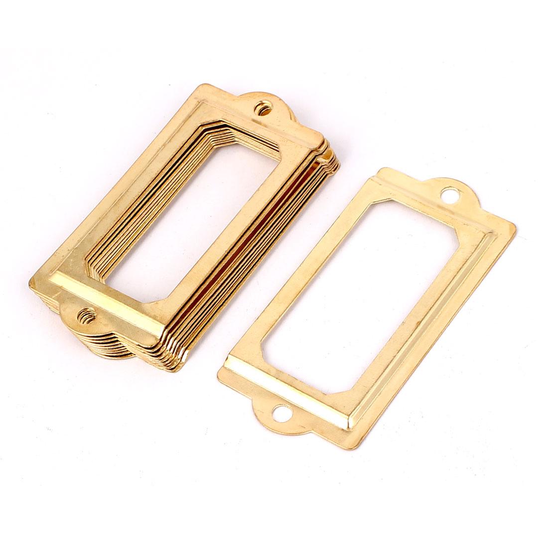 70mmx33mm Decorative File Drawer Tag Frame Label Holder Gold Tone 10pcs