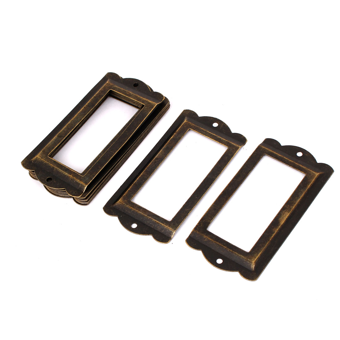 85mm x 42mm Metal Vintage Stryle Tags Frames Drawer Gift Box Tag Card Label Holders 10pcs