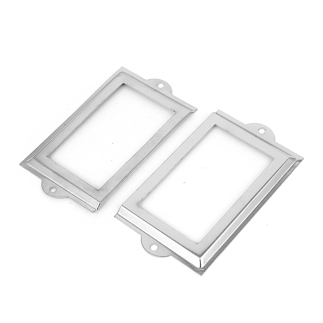 Metal 105mm x 60mm Name Card File Drawer Tag Label Holder Frame Silver Tone 2pcs