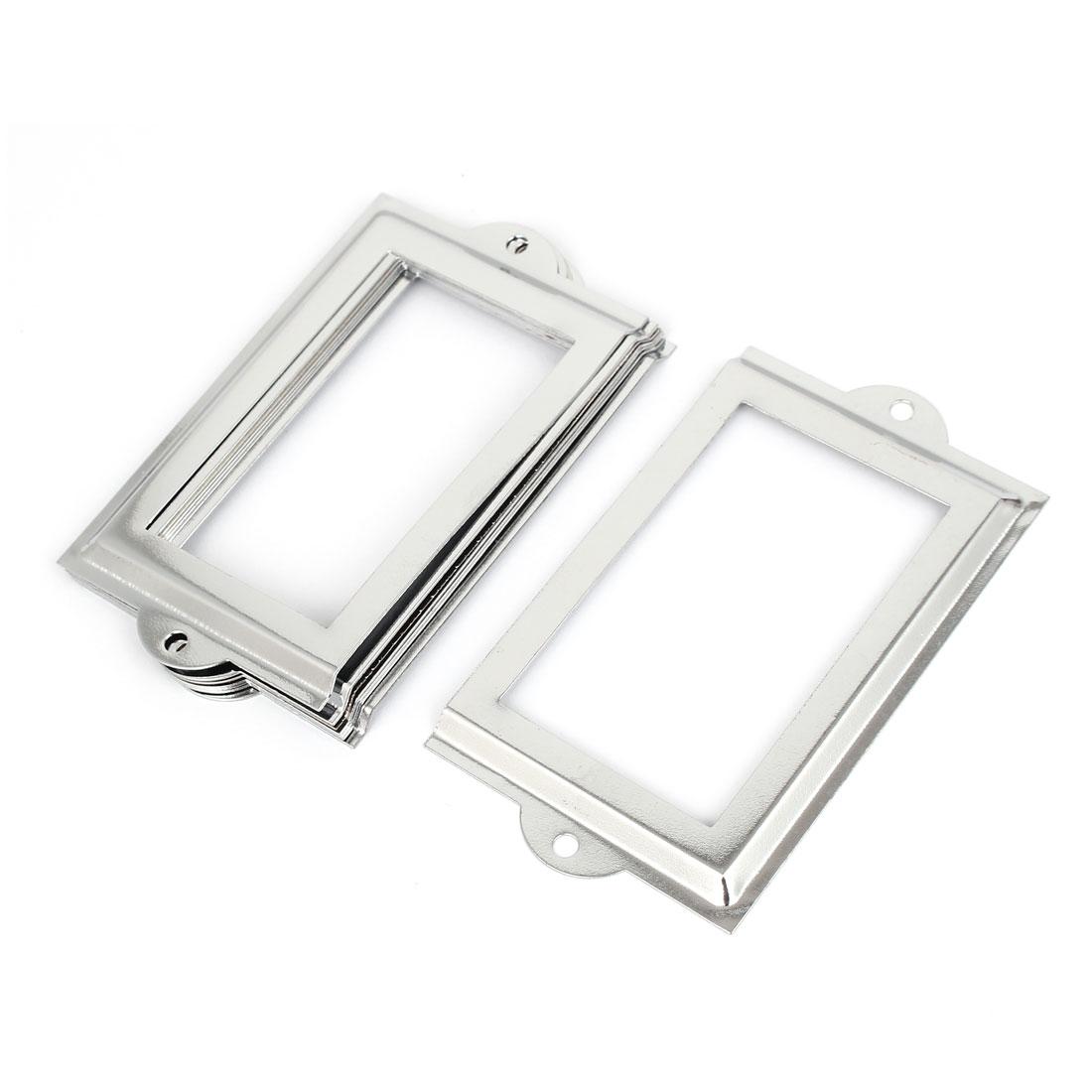 Metal 105mm x 60mm Name Card File Drawer Tag Label Holder Frame Silver Tone 8pcs