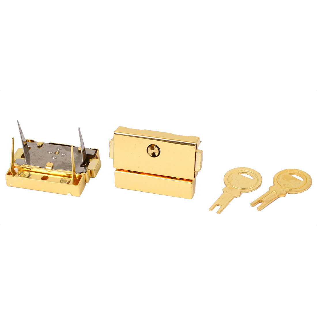 Suitcase Drawer Hasp Boxes Clasp Toggle Lock Latch Gold Tone 2pcs w 2 Key